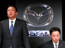 Mazda Motor Corp. outgoing President Masamichi Kogai and next president Akira Marumoto attend a news conference in Tokyo