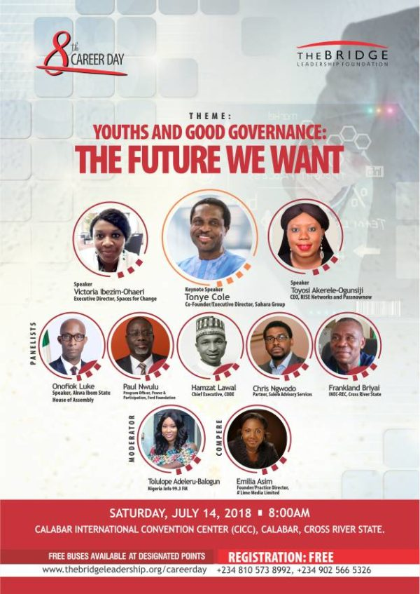 Imoke, Cole And Onofiok To Inspire Nigerian Youths At the 8th Career Day of TLBF, July 14, 2018